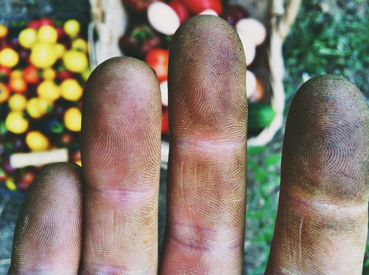 Cropped Image Of Dirty Fingers