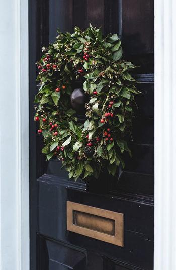 Close-Up Of Wreath On Black Door