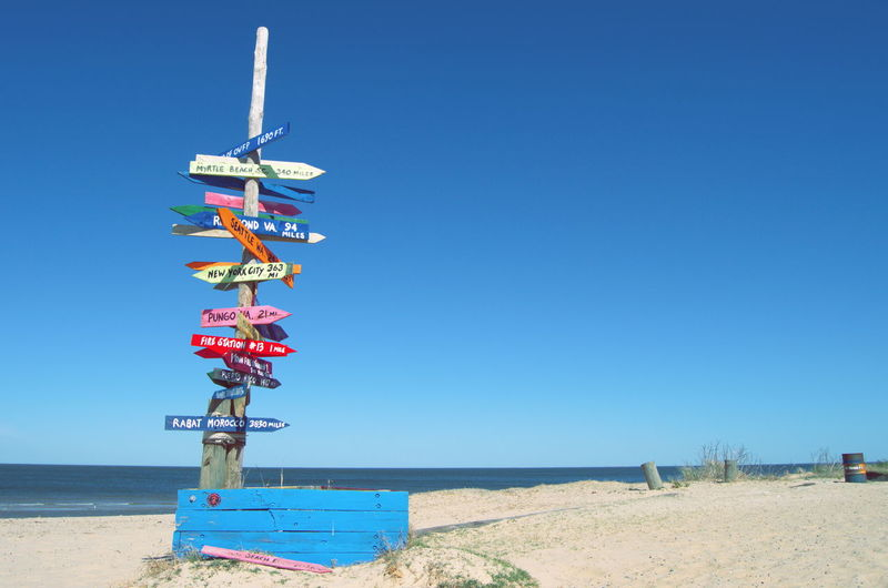 Information Sign At Beach Against Clear Blue Sky