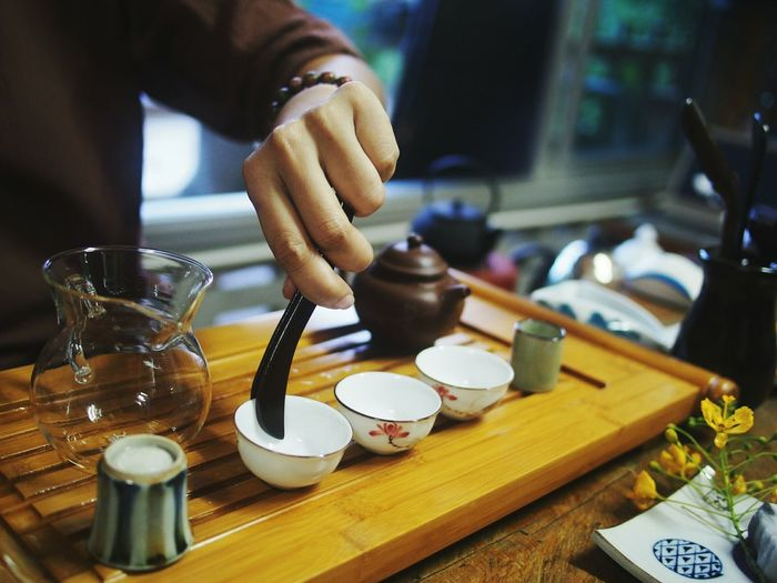 Close-up of chinese tea cupping