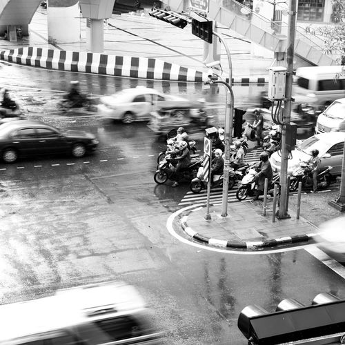 Bangkok Black & White Black And White Black&white Blackandwhite Blackandwhite Photography City Life Land Vehicle Lifestyles Mode Of Transport Modern Motion On The Move Real People Riding Road Showcase: February Square Street Thailand Traffic Transportation Urban Urban Lifestyle Urbanexploration Welcome To Black