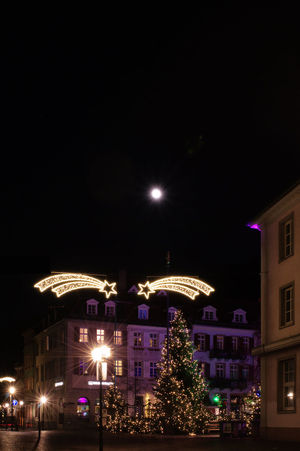 Christmas in Heidelberg, Germany Christmas Around The World Christmas Tree City Heidelberg Illuminated Lights Nightphotography Outdoors Residential District Urban Full Moon Christmas Full Moon