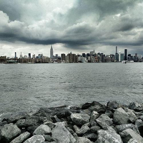 Williamsburg View. Williamsburg Brooklyn Skyline Newyork NYC Cloudy Majestic Whitefigure