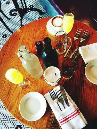 High angle view of tea served on table
