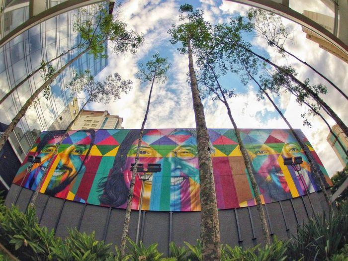 A qualquer canto de São Paulo que você for tem arte, alguém se expressando através dela... Mas as obras do artista @kobrapaint_official são as mais belas artes, que se destacam em meio ao cinza de São Paulo. EyeEm Selects Sao Paulo - Brazil EyeEmBestPics Eyemphotography Goprophotography Gopro Cidadecinza RuaDaConsolacao KobraStreetArt Kobra EyeEm Eyeem Market Metropolis SP Goprohero2 Tree Multi Colored Sky Close-up Architecture Graffiti Spray Paint Spray Bottle Art And Craft Colorful Mosaic Art Mural ArtWork