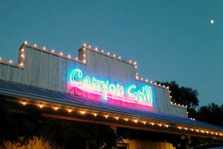 Building Exterior Canyon Grill Food Illuminated Lookout Mountain GA Moonrise Neon Lights Neon Sign Restaurants Landscapes With WhiteWall The Graphic City