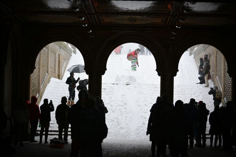 People Watching Hanging Out Taking Photos Central Park New York City Bethesda Terrace Snow Storm Snow Day Winter Winter Wonderland Blizzard 2016 Blizzard2016