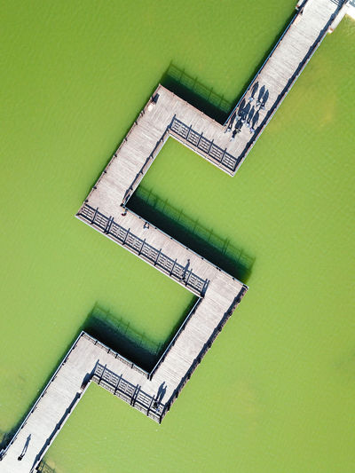 High angle view of green building