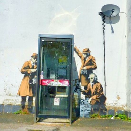 Banksy in Cheltenham. Location: Cheltenham, UK. Banker's work on a wall in Cheltenham. Banksy Banksyart Cheltenham Streetart