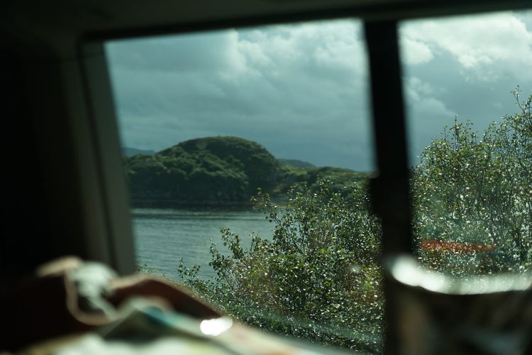 Plants by sea against sky seen through window