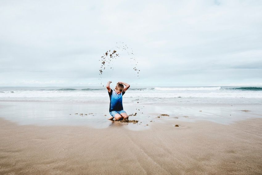 Sand Boy Playing Real People Photography Authenticity Beach Sea Leisure Activity Sand & Sea