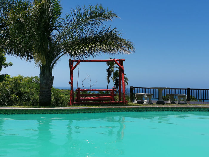 Red Swing Red Swing Wooden Bench Palm Tree South Africa Balance Nature It's About the Journey Seaside Beach Green Swimming Pool Tree Water Clear Sky Blue Sky Shore Horizon Over Water Wave Seascape Coast Tide Calm Ocean Tranquil Scene Swimming Pool Waterfront Sea