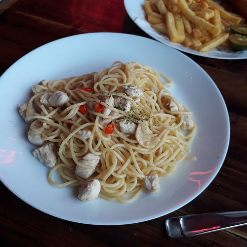 High angle view of noodles served in plate on table