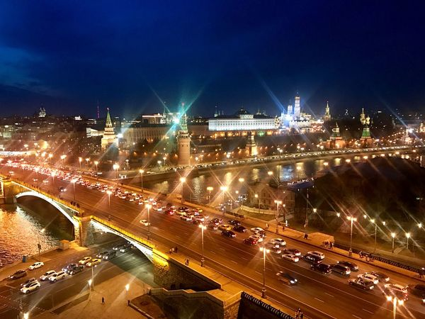 Moscow Moscow City Kremlin Illuminated Night Building Exterior Architecture Sky City Water Cityscape