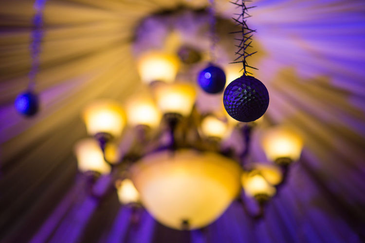 Ceiling decoration and ornaments for events Ceiling' Chandelier Light And Shadow Bulb Balls Christmas Decoration Hanging Indoors  Close-up Lighting Equipment No People Illuminated Celebration Purple Sphere Selective Focus Focus On Foreground Light Metal Music Ceiling Electricity  Crystal Shape Luxury