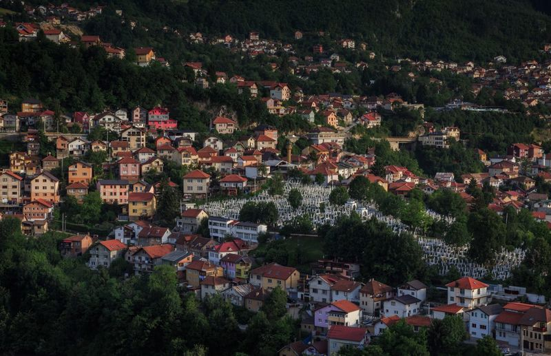 City Sarajevo Bosnia And Herzegovina Sarajevo Cross Cityscape City City View  Tree Outdoors Building Exterior High Angle View No People Architecture Day Town Built Structure