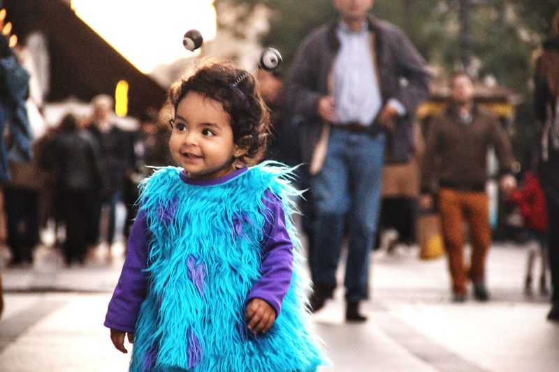 City Costume Streetphotography Street Sullivan Sulley Monster Inc Baby Toddler  Childhood Child Offspring Winter Warm Clothing Clothing Cold Temperature Real People Girls People Focus On Foreground Day Front View Innocence