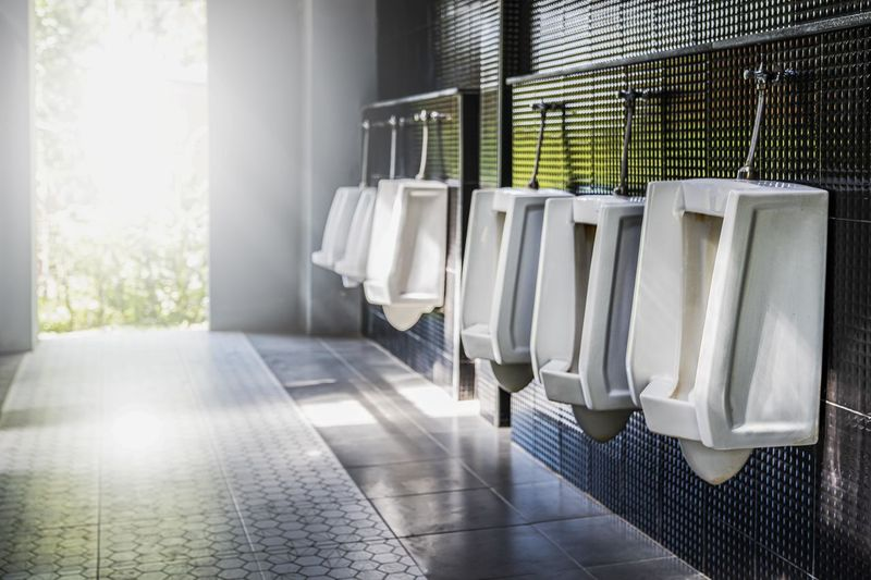 View of empty urinal