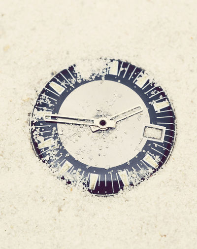 watch buried in sand Buried Discarded Lost Abandoned Beach Circle Clock Close Up Close-up No People Object Outdoors Sand Time Watch Watch Face Watchface