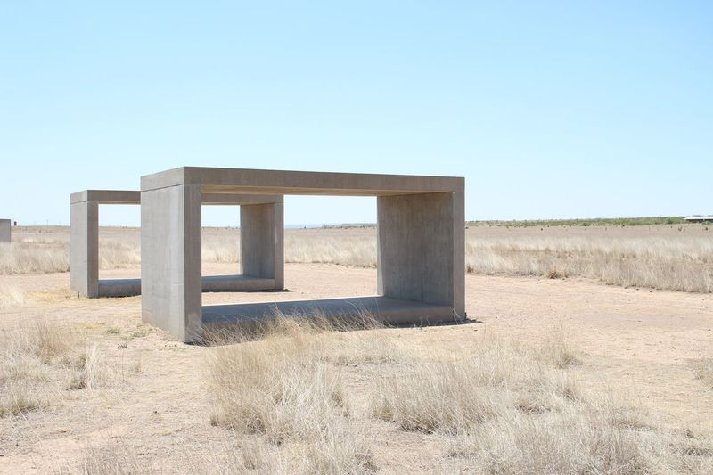 EyeEm Selects EyeEm Selects Marfa Clear Sky Copy Space Architecture Built Structure Day Field Outdoors No People Arid Climate Rural Scene Desert Nature Sky Texas Art Art Installation The Traveler - 2019 EyeEm Awards The Minimalist - 2019 EyeEm Awards