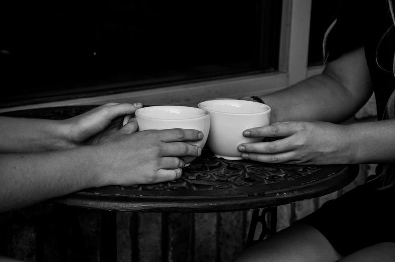 Black & White Black And White Photography Cafe Cast Iron Coffee Coffee Cup Conversation With A Friend Freshness Hands Holding Indoors  Looking Person