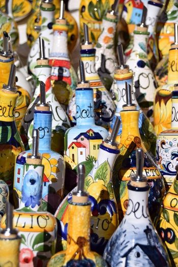 Italy Umbrië Multi Colored Market Choice Large Group Of Objects Close-up Olive Oil
