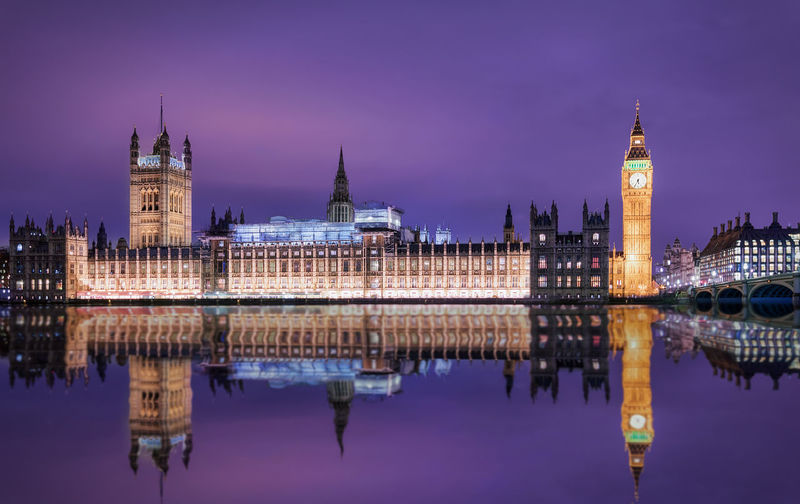 Illuminated big ben and houses of parliament against sky at night