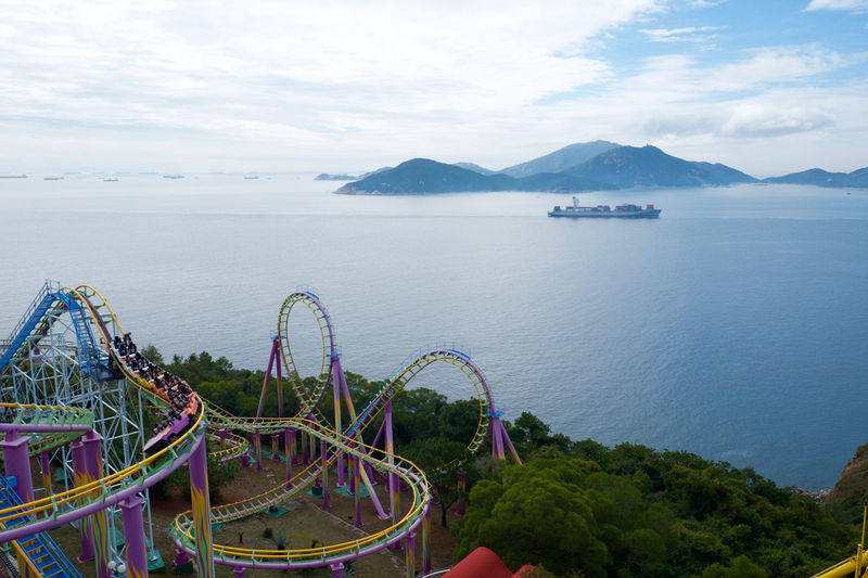 The rides at Ocean Park, Hong Kong have great views out to sea. Clouds Coastline Fun Mountain Nautical Vessel Ocean Park Roller Coaster Sea Ship Sky Theme Park Tourism Tranquil Scene Travel Travel Destinations Vacations Water Live For The Story