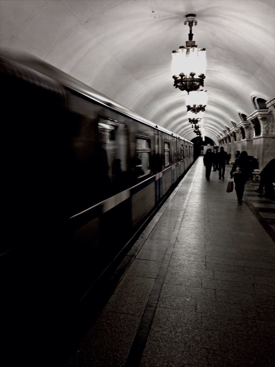 View Along Subway Station Platform