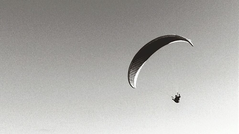 Evening Flight Upupandaway Paragliding Paraglider Take Flight Blackandwhite Greyscale Minimalism Wales My Rural Life