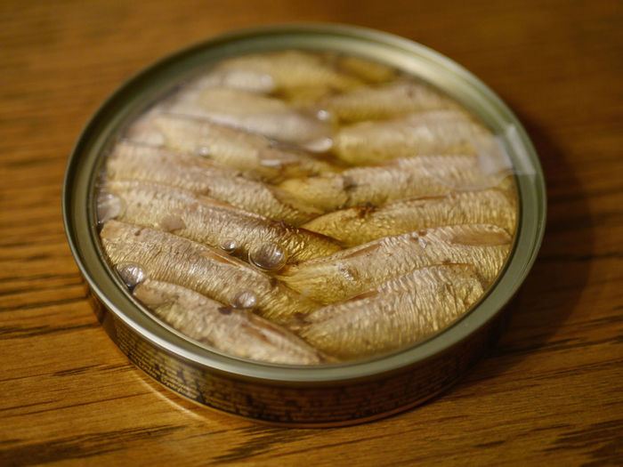 Close-Up Of Fish In Container On Table
