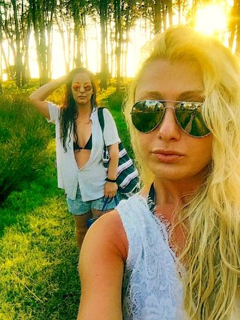 Holidays Long Trees Sunshine ☀ In Nature  Walking Blonde And Brunette Life Is Beautiful Summertime Green Green Green!  Sunglasses Hot Day Enjoying Life Summer2016 Friendship Hello World Selfie ✌ Color Of Life Trees Color Of Nature Beautiful Day
