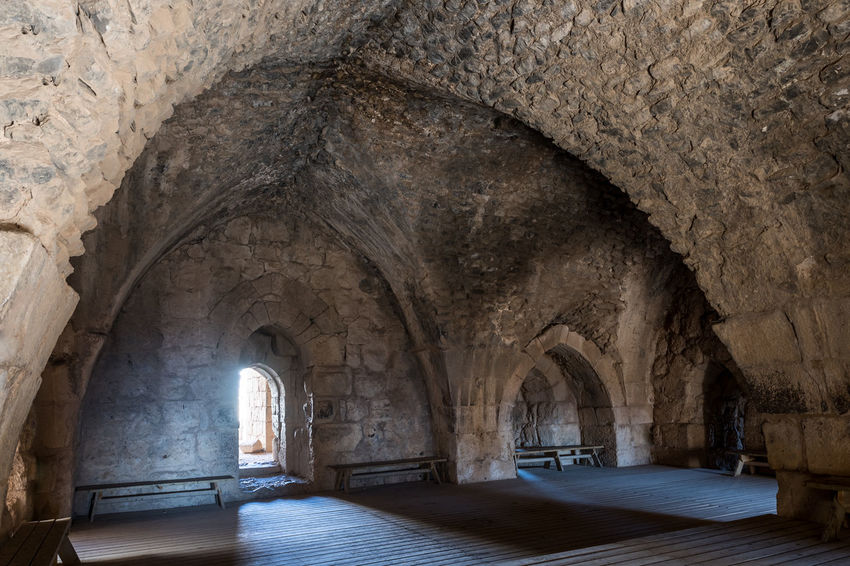 Hall in the lower tier in Nimrod Fortress located in Upper Galilee in northern Israel on the border with Lebanon. History Israel Nimrod Fortress Castle Border Stone Material Wall - Building Feature Saladin Beybars Crusaders Ayubids Mamluks Assassins Tower Heritage Travel Destinations National Park Hill Old Ancient Architecture Medieval Ruin Protection Fort Gate