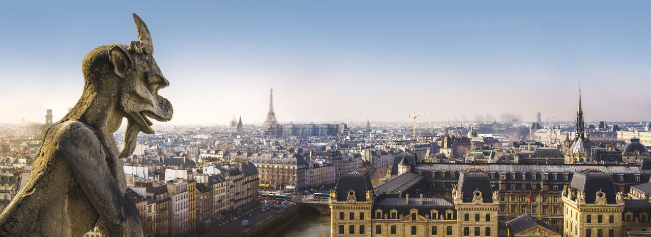 Panoramic view of Paris from Notre Dame de Paris Cathedral Chimera France Notre Dame De Paris Panoramic View Paris Architecture City Cityscape Gargoyle Sculpture Tourism Travel Destinations