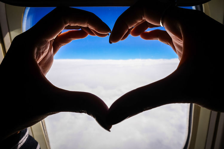 Heart ❤ Air Plane Clouds Clouds And Sky
