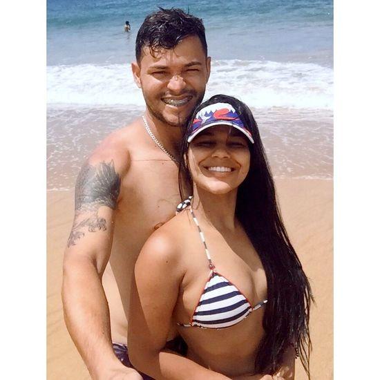 Two People Looking At Camera Beach Bikini Shirtless Sea Portrait
