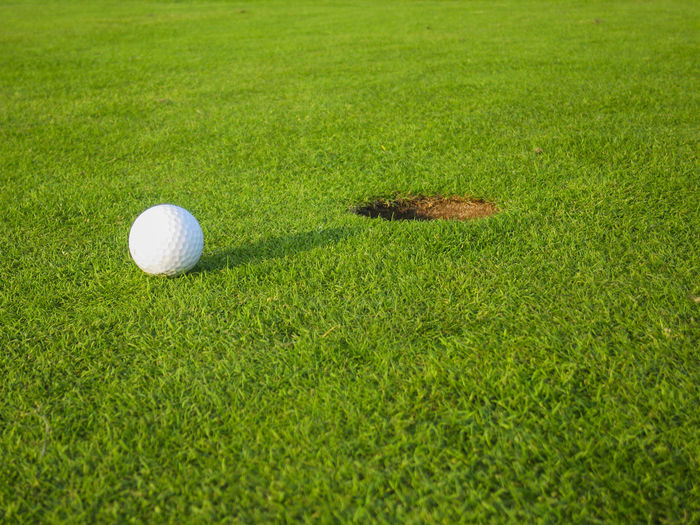 High angle view of golf ball on grass