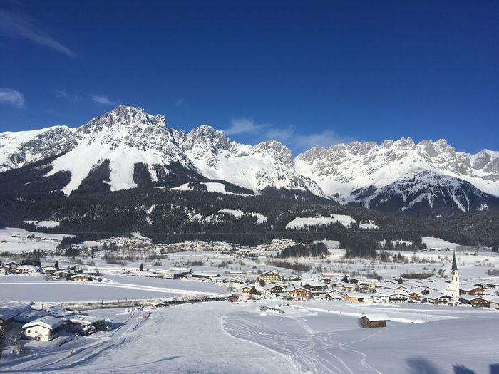Slope Leisure Activity Wintersports Wilder Kaiser Tyrol Skiing Climbing Snow Winter Cold Temperature Mountain Sky Beauty In Nature Scenics - Nature Mountain Range Tranquility