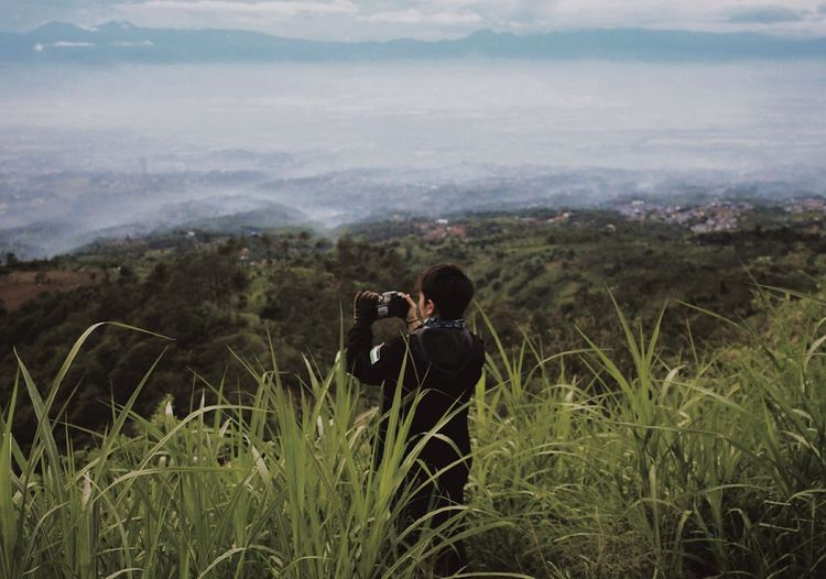 Rear view of man photographing landscape by plants