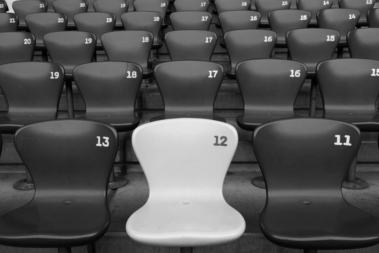 The number 12 12 Continue Absence Auditorium Chair Cinema Empty Focus In A Row No People Number Repetition Seat Twelve Unique The Week On EyeEm