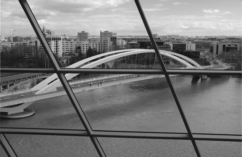 Architecture Cloud City Sky And Clouds Arch Bridge Architecture Blackandwhite Blackandwhite Photography Bridge Bridge - Man Made Structure Building Building Exterior Built Structure City Cityscape Cloud - Sky Connection La Conluence Museum Nature No People Outdoors River Sky Transportation Water The Architect - 2018 EyeEm Awards