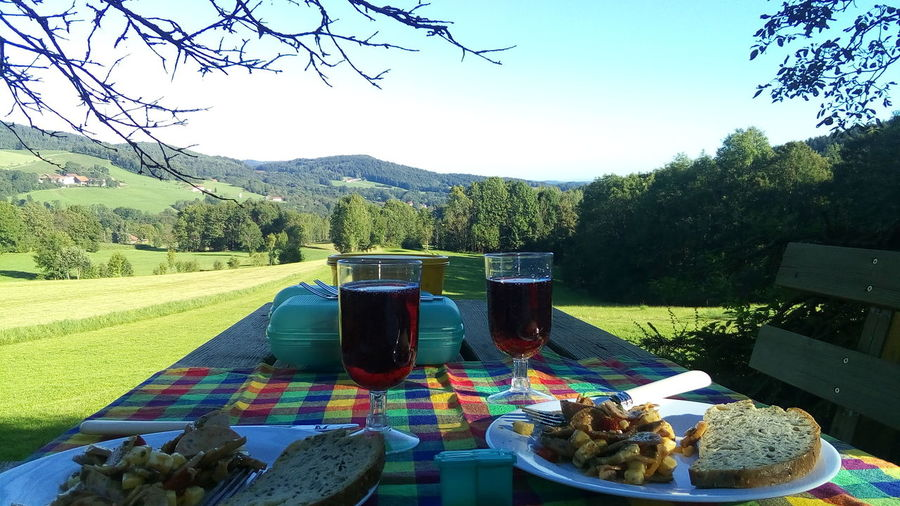 I Am New Here Picknick Picknicktables Landscape Food Outdoors Nature Sky Freshness No People Brotzeit Dinner For Two Marende Picknik EyeEmNewHere