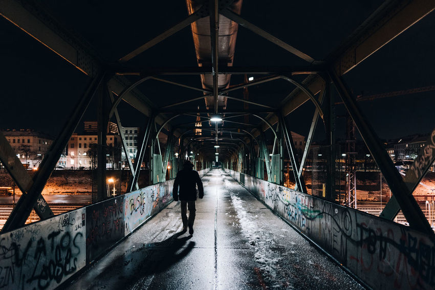 Lonely Bridge - Man Made Structure Cold Temperature Winter Built Structure Architecture Silhouette People Night City One Person Full Length Shootermag Illuminated EyeEmBestPics EyeEm Gallery EyeEm Best Shots Street Light Lowlightleague Lowlight The Street Photographer - 2018 EyeEm Awards HUAWEI Photo Award: After Dark Capture Tomorrow
