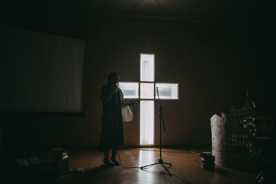 HUAWEI Photo Award: After Dark EyeEm Selects Full Length Standing Indoors  One Person Adult Offspring Dark Men Child Rear View Illuminated Copy Space Wall - Building Feature Childhood Women Silhouette Architecture Window Night