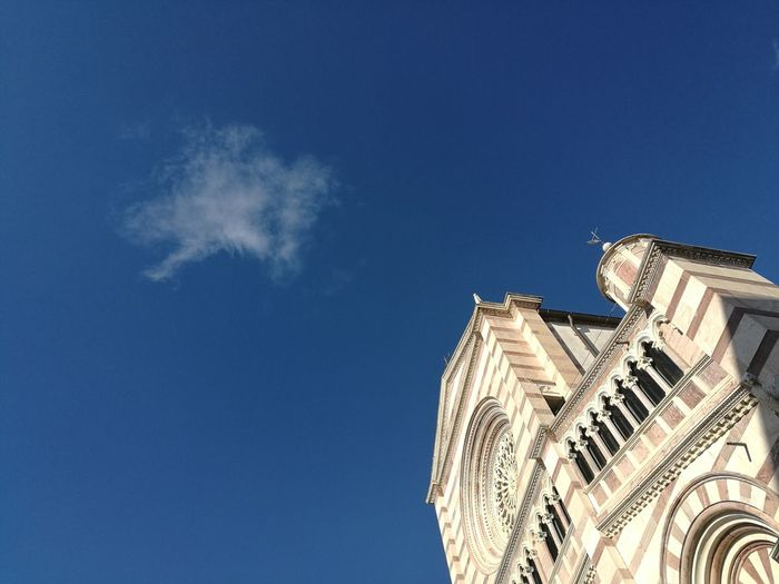 Blue Low Angle View One Cloud Lonleyness Clear Sky Contradiction Fragility Prospective No People Church Smartphone Photos