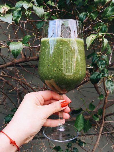 Spinach smoothie in a wine glass Cooking Culinary Food Foodblogger Green Vegetables Healthy Eating Healthy Lifestyle Marmaris Nutrition Products Smoothie Spinach Smoothie Turkey Vegetable Smoothie