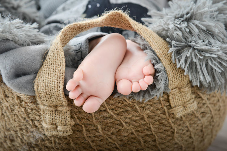 Low section of baby resting in basket