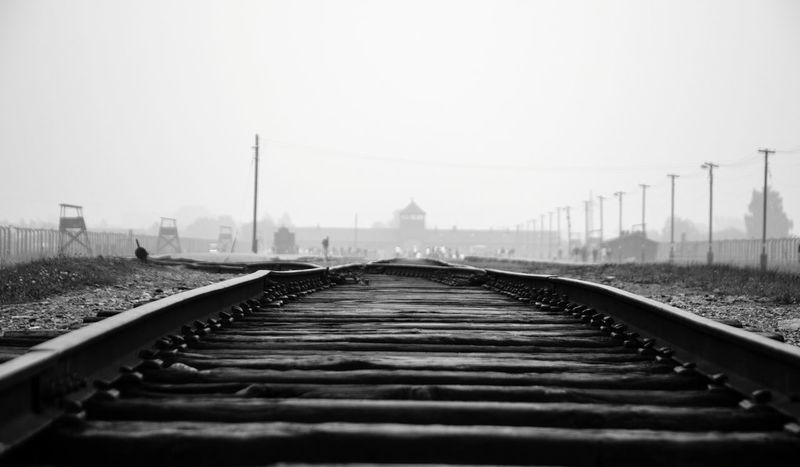 The end of the line. Factory of death. Railroad Track Fog No People Sky Hell Holocaust Auschwitz Birkenau Auschwitz  Poland Remember Suffering Sadness Sad Despair No Hope Death Genocide