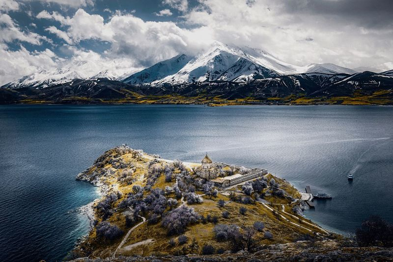Akdamar island in east of Turkey Akdamar Church, Van Turkey Van Mountain Cloud - Sky Water Sky Scenics - Nature Beauty In Nature Nature Lake Snow Tranquility Winter Mountain Range Tranquil Scene No People Cold Temperature Day Snowcapped Mountain Environment Outdoors Mountain Peak The Great Outdoors - 2019 EyeEm Awards