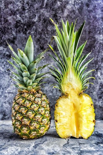 pineapple Cutinhalf Halved Fruit Food And Drink Healthy Eating Pineapple Food Freshness Green Color